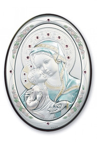 "7"" x 5"" Sterling Silver Madonna and Child Plaque"
