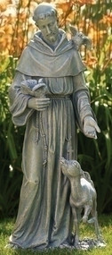 "36.5"" Saint Francis with Deer Statue. Resin/Stone Mix. Dimensions: 36.5""H x 16.5""W x 13.5""D"