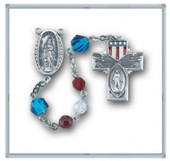 "6mm Red , White Opal Swarovski Crystal Beads with 8mm Blue ""Our Father"" Beads. Sterling Silver ""Our Lady of Victory Center"" and Sterling Silver American Flag Cross with Rhodium Plated Findings. Deluxe Velour Gift Box Included."