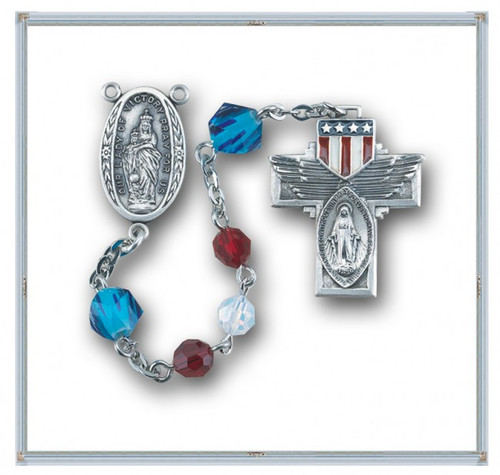 """6mm Red , White Opal Swarovski Crystal Beads with 8mm Blue """"Our Father"""" Beads. Sterling Silver """"Our Lady of Victory Center"""" and Sterling Silver American Flag Cross with Rhodium Plated Findings. Deluxe Velour Gift Box Included."""