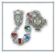 "Sterling Silver St Michael Multi colored Rosary. 6mm Multi Color Round Swarovski Crystal Beads. Exclusive design Sterling Silver 7/8"" Center and a 7/8"" Double Sided Sterling Silver Saint Michael Cross Medal with Rhodium Plated Findings. Deluxe Gift Box Included. Hand Made in the USA. Presents in a deluxe velour metal gift box."