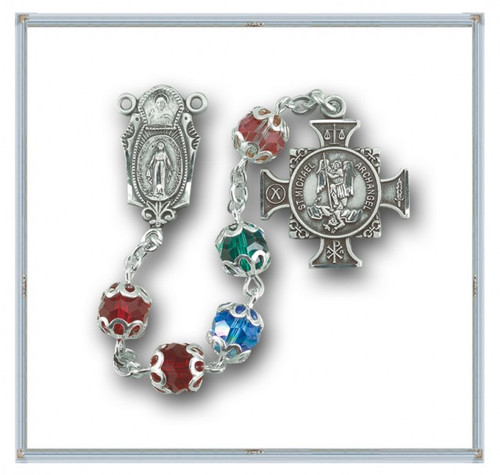 """Sterling Silver St Michael Multi colored Rosary. 6mm Multi Color Round Swarovski Crystal Beads. Exclusive design Sterling Silver 7/8"""" Center and a 7/8"""" Double Sided Sterling Silver Saint Michael Cross Medal with Rhodium Plated Findings. Deluxe Gift Box Included. Hand Made in the USA. Presents in a deluxe velour metal gift box."""