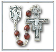 "Saint Francis 7 Decade ""Franciscan Crown"" Rosary ~ 6x9mm Franciscan 7 Decade Polished Brown Oval Boxwood Beads. Sterling Silver St. Francis Center and 1-5/8"" Sterling Silver San Damiano Crucifix with Rhodium Plated Brass Findings. Deluxe Velour Gift Box Included."