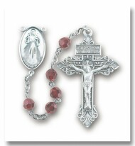 "Garnet Swarovski Crystal Divine Mercy Rosary. 6mm Garnet crystal faceted round beads. Exclusive designed 2"" Pardon crucifix in sterling silver.  Deluxe velvet box.  Made in the USA."