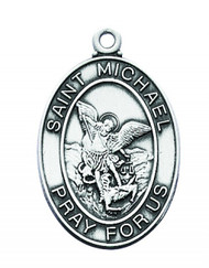 "Sterling Silver Saint Michael the Archangel Oval Medal . St Michael Medal comes on a 24"" rhodium chain in a deluxe velour gift box. Length: 1-1/16""."