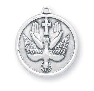 """Round sterling silver holy spirit medal. Holy Spirit Medal comes with a 20"""" genuine rhodium plated curb chain in a deluxe velour gift box. Dimensions: 0.9""""  0.8"""" (23mm x 21mm). Made in the USA."""