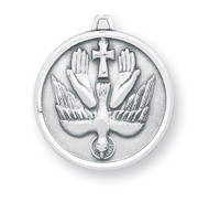 "Round sterling silver holy spirit medal with 20"" genuine rhodium plated curb chain in a deluxe velour gift box. Dimensions: 0.9""  0.8"" (23mm x 21mm)"
