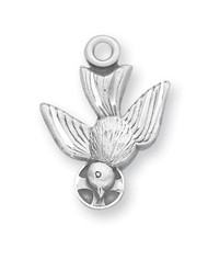 """3/4"""" Sterling silver Holy Spirit Medal. Holy Spirit Medal comes with an 18"""" genuine rhodium plated curb chain. Holy Spirit Medal presents in a deluxe velour gift box. Dimensions: 0.7"""" x 0.5"""" (17mm x 12mm). Made in the USA."""