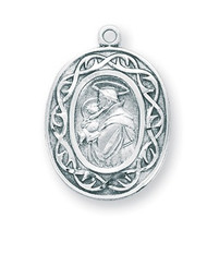 "Sterling Silver Saint Anthony Crown of Thorns Medal. Crown of thorn medal comes on a genuine 18"" rhodium plated curb chain in a deluxe velour gift box.  Dimensions: 0.9"" x 0.7"" (24mm x 17mm). Made in the USA"