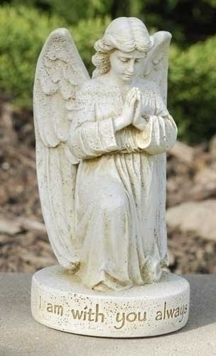 "Bereavement statue of an angel on one knee with hands together in prayer. The base of the statue reads, ""I am with you always."""