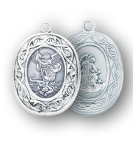 "Sterling Silver Oval St Michael Medal. Dimensions: 0.9"" x 0.7 (24mm x 17mm). Guardian angel on back of the medal. St. Michael medal comes on a 24"" genuine rhodium plated endless curb chain. Deluxe gift box is included. Medal is made in the USA."