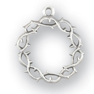 "Sterling Silver Crown of Thorns Pendant. Pendant comes on a 20"" Genuine rhodium plated curb chain in a deluxe velour gift box. Dimensions: 0.9"" x 0.7"". Made in USA."