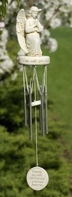 """18"""" Praying Angel Wind Chimes. """"I am with you always"""". Resin/Stone Mix and Metal. 3.25""""W x 2.38""""D x 18""""L"""