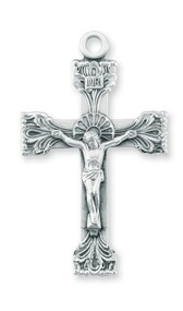 """2 3/16"""" Men's decorative sterling silver crucifix with a 24"""" genuine rhodium plated chain in a deluxe velour gift box."""