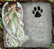 "9"" Pet Memorial Garden Stone ""In Loving Memory of a Faithful Friend"" . Resin/Stone Mix. 9""H x 10""W x 0.88""D"