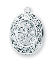"15/16"" Sterling Silver St. Joseph Crown of Thorns Medal with 18"" genuine rhodium plated chain. Medal comes in a deluxe velour gift box. Made in the USA"