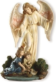 "8.5"" Guardian Angel with Children Statue. Resin/Stone Mix. Dimensions: 8.5""H x 6""W x 5""D"