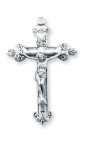 "1 5/8"" Sterling silver scared heart crucifix on a 24 inch genuine rhodium chain in a deluxe velour gift box."