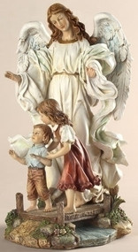 "10"" Classic Guardian Angel Figure. Resin/Stone Mix. Dimensions: 10""H x 7.25""W x 5.75""D"