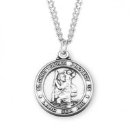 "1-5/16"" Round Sterling Silver St. Christopher Service Medal. ""Saint Christopher Protect Us. Land, Sea, Air"".  Medal comes on a  24"" genuine rhodium plated curb chain. A deluxe velour gift box is included. Dimensions: 1.3"" x 1.1"" (32mm x 28mm).  Made in the USA."