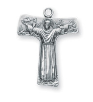 """St. Francis Tau Cross Medal  Solid .925 sterling silver. Saint Francis is the Patron Saint of animals, peace, ecology, and merchants. Dimensions: 1.0"""" x 0.8"""" (26mm x 21mm) Weight of medal: 2.3 Grams. 24"""" Genuine rhodium plated endless curb chain. Made in USA. Deluxe velvet gift box."""