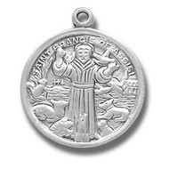 """Saint Francis Medal ~ 7/8"""" Sterling silver St. Francis medal on an 18"""" inch chain in a deluxe velour gift box."""