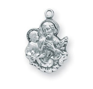 """3/4"""" Sterling silver St. Joseph Medal on a 16"""" rhodium plated chain in a deluxe velour gift box"""