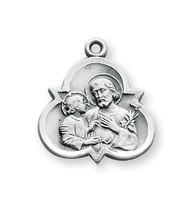"7/8"" Saint Joseph trinity symbol medal-pendant. Detail depicts him holding the Infant Jesus. Pendant comes on an 18"" Genuine rhodium plated curb chain. Made in USA. Comes in a deluxe velour gift box."
