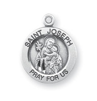 "9/16"" Sterling Silver Portrayal of St. Joseph holding Baby Jesus. He is the Patron Saint of Carpenters, Married Couples, Workers.  A 18"" Rhodium Plated Curb Chain is Included with a Deluxe Velour Gift Box. Engraving available at an additional cost."