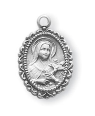 "Sterling Silver Saint Therese Medal ~ 5/8"" Sterling silver St. Therese Medal on an 18"" rhodium plated chain in a deluxe velour gift box."