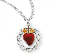 "1"" Sterling silver crown of thorns with enameled red heart on an 20"" rhodium plated chain in a deluxe velour gift box. Made in the USA"