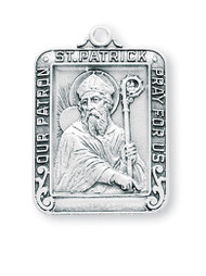 "1 1/8"" Sterling silver square St. Patrick Medal on a 24"" rhodium plated chain in a deluxe velour gift box."