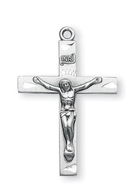 "Sterling Silver Crucifix Pendant. 1 3/16"" Child's sterling silver plain crucifix on a 20"" rhodium plated chain in a deluxe velour gift box."