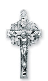 """Sterling Silver Crucifix Pendant ~ 1 3/8"""" Men's sterling silver IHS crucifix on 24"""" rhodium or gold plated chain in a deluxe velour gift box."""