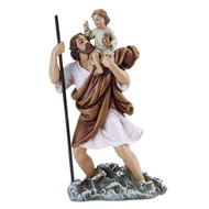 "Saint Christopher 4"" statue.  Patron Saint of Hazardous Travel & Athletes. Resin/Stone Mix. Dimensions:  4""H x 2.5""W x 1.125""D"