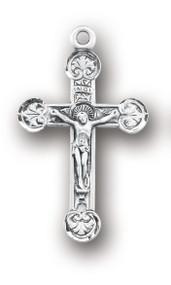 Men's Sterling Silver Fleur De Lese Crucifix