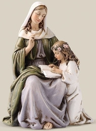 "Saint Anne Statue. Patron Saint of Mothers . Resin/Stone Mix. Dimensions:  4.5""H x 3.13""W x 2.5""D"