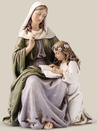 "4.5""H St Anne Statue. Patron Saint of Mothers.  Resin/Stone Mix. Dimensions:  4.5""H x 3.13""W x 2.5""D"