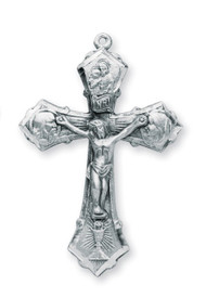 "Sterling silver 1 3/4"" Jesus, Mary, and Joseph crucifix pendant on a 24"" Genuine rhodium plated endless curb chain. Crucifix comes in a deluxe velour gift box. Made in the USA."