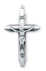 """2"""" Men's IHS  sterling silver crucifix pendant on a 24"""" Genuine rhodium plated endless curb chain. Dimensions: 2.0"""" x 1.1"""" (51mm x 29mm).  Pendant comes in a deluxe velour gift box. Made in the USA."""