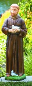 """29""""H Saint Francis with Birds Handcrafted Cement Outdoor Statue. Available in Detailed Stain or Natural Cement color.  Details:  Height: 30"""", Weight: 65lbs, B: 7.5 sq"""". Allow 4-6 weeks for delivery. Made in the USA!"""