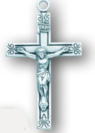 Men's Sterling Silver Crucifix with Etched Design