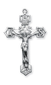 "Men's Decorative Sterling Silver IHS Crucifix ~  1 11/16"" Men's decorative sterling silver IHS Crucifix on a 24"" rhodium plated chain in a deluxe velour gift box."