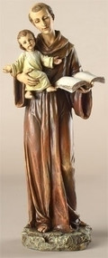 "Saint Anthony Statue. Patron Saint of Lost Articles. Dimensions: 10""H x 4.25""W x 3.5""D. Resin/Stone Mix"
