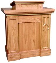 "Pulpit with gothic trim columns, extended shelf for lamp and microphone. Two inside shelves for storage. Measures 40""w x 24""d x 46""h. Book rest measures: 24""W x 21""D. Please double click color chart to select wood color"
