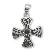 "3/4"" Sterling Silver Maltese Cross with Garnet Zircon. Maltese Cross with garnet Zircon comes on an 18"" genuine rhodium plated curb chain.  Dimensions: 0.8"" x 0.7"" (20mm x 17mm). Maltese cross comes in a deluxe velour gift box. Made in USA."