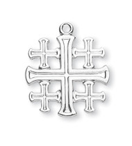 """13/16"""" Sterling Silver or 16KGold Plated Sterling Silver Jerusalem Cross.  The Jerusalem cross is made up of one large center-cross with four smaller crosses surrounding it. This top quality pendant is made from .925 Sterling Silver. Medal comes with a tarnish resistant 18"""" genuine gold plated curb chain or genuine rhodium plated curb chain. Made in the USA. Medal is gift boxed."""