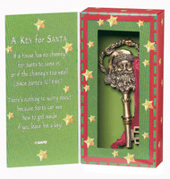 "A Key for Santa Ornament - 3 1/2"" x 2"",  Gold Pewter with red satin ribbon. Box says ""If a house has no chimney for santa to come in, or if the chimney's too small (Since Santa's not thin!) There's nothing to worry about because Santa can see how to get inside if you leave him a key!"""