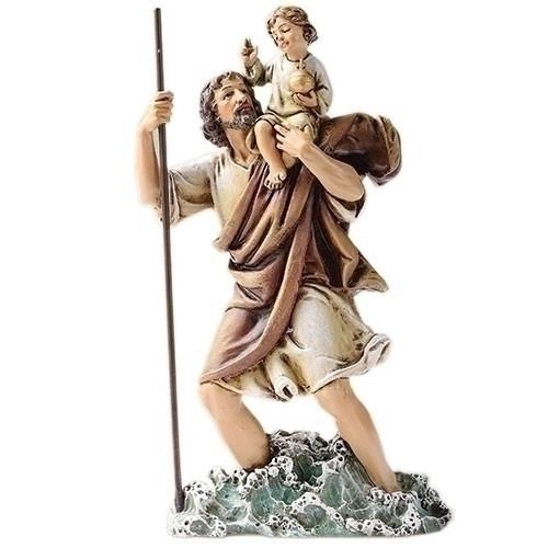 """Saint Christopher Statue ~ Patron Saint of Hazardous Travel & Athletes. Dimensions: 6.25""""H x 3.5""""W x 1.75""""D. Materials: Resin/Stone Mix"""