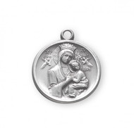 """15/16"""" Sterling Silver Our Lady of Perpetual Help Medal comes on an 18"""" genuine rhodium plated curb chain. Medal comes in a deluxe velour gift box. Made in the USA."""